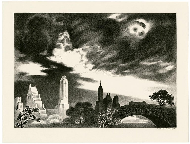 Angry Skies (Andante Cantabile) — Central Park, New York City - Print by Louis Lozowick