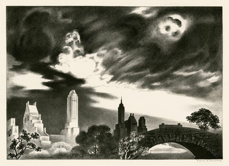 Louis Lozowick Landscape Print - Angry Skies (Andante Cantabile) — Central Park, New York City