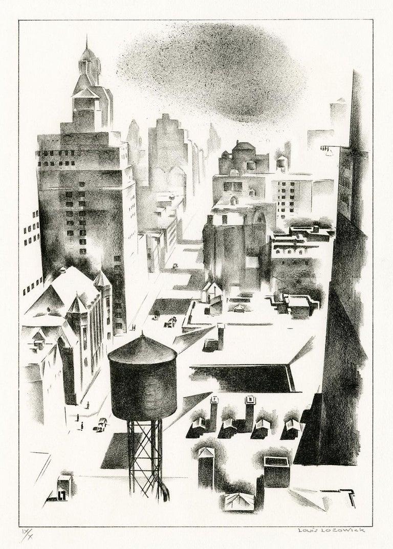 Louis Lozowick Landscape Print - Madison Avenue