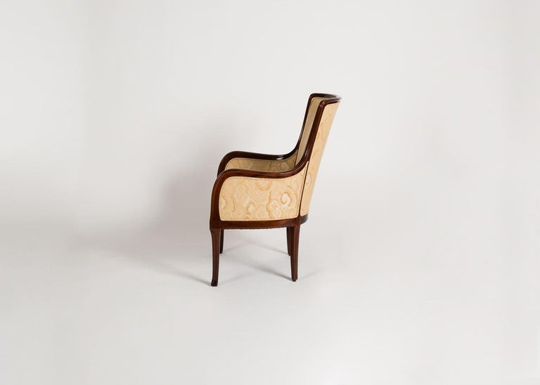 French Louis Majorelle, Art Nouveau Mahogany Desck Chair, France, circa 1925 For Sale