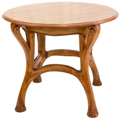 Louis Majorelle Art Nouveau Oak Round Table