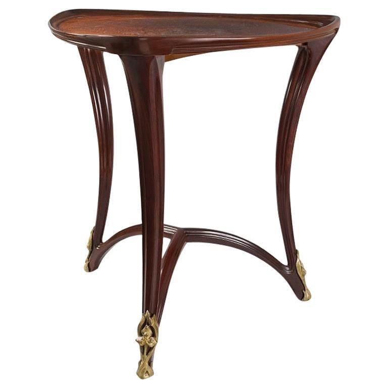 "Louis Majorelle French Art Nouveau Triangular ""Gueridon"" Table"