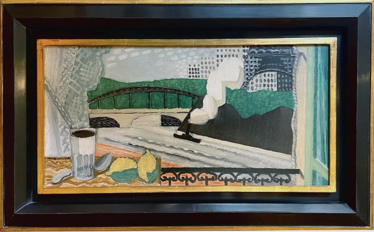 La Seine et la Tour Eiffel, vue d'un balcon, painting by Louis Marcoussis, 1925 For Sale 1