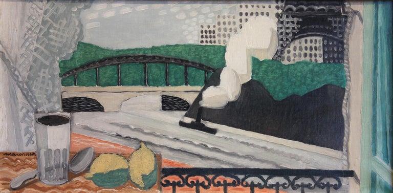 La Seine et la Tour Eiffel, vue d'un balcon by Louis Marcoussis (1878-1883) Oil on canvas 33 x 66 cm (13 x 26 inches) Signed lower left, Marcoussis Executed in 1925  Provenance Alice Halicka (the artist's wife), Paris Blanche Fabry Tézé, New