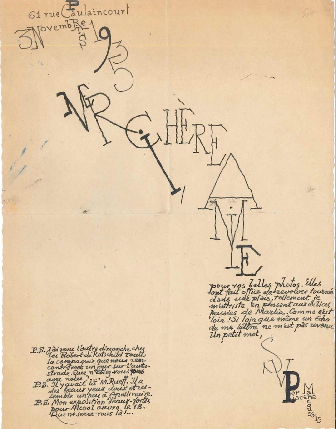 Letter from Louis Marcoussis - 1935