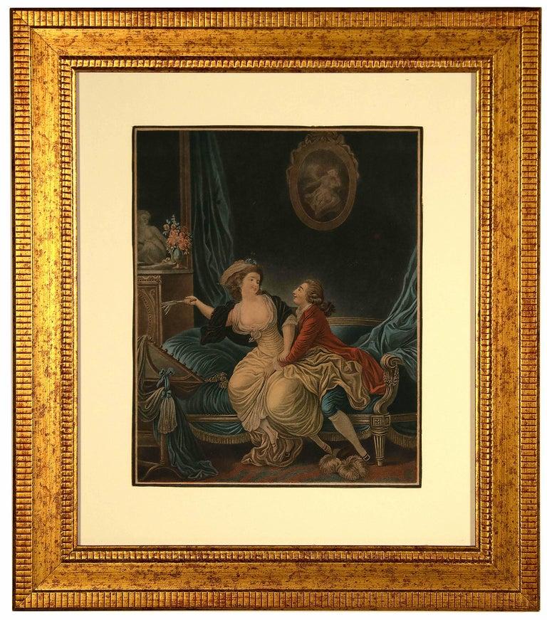 Louis-Marin Bonnet Figurative Print - Intimacy - Original Etching by L-M Bonnet - Late 18th Century