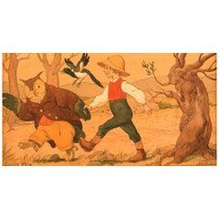 Louis Moe '1857-1945', Watercolor on Paper Fairy Tale Motif, circa 1910