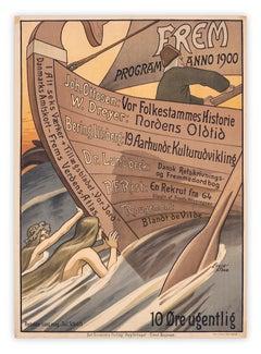 Frem Program Anno 1900 by Louis Moe, Danish Art Nouveau mermaid poster