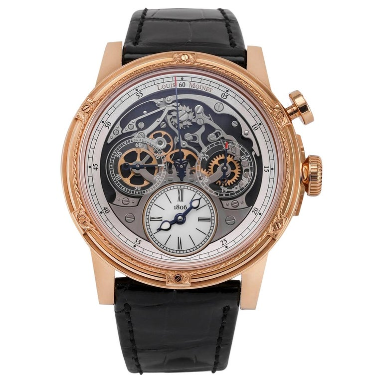 Louis Moinet 18 Karat Rose Gold Memoris Chronograph For Sale