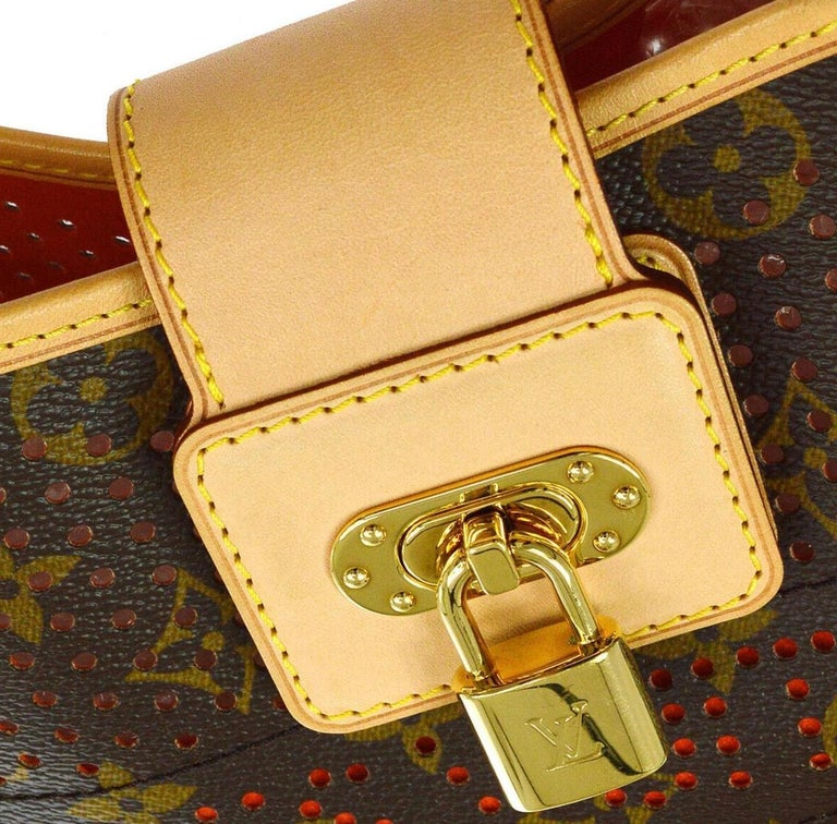 Louis Monogram Brown Red Perforated Gold Leather Top Handle Satchel Shoulder Bag In Excellent Condition For Sale In Chicago, IL