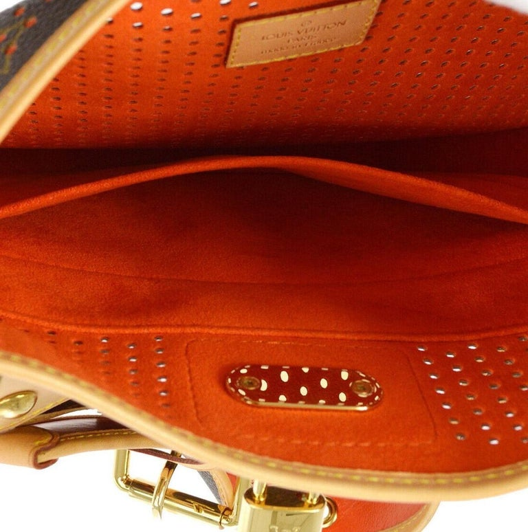 Louis Monogram Brown Red Perforated Gold Leather Top Handle Satchel Shoulder Bag For Sale 3