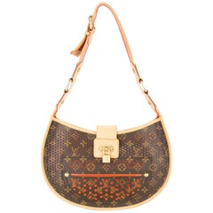 Louis Monogram Brown Red Perforated Gold Leather Top Handle Satchel Shoulder Bag