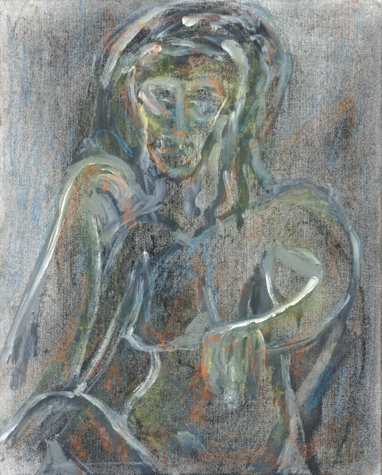 """Nude abstract by Louis Nadalini (American, 1927-1995). Signed """"Louis Nadalini"""" in the lower right corner. Signed """"Louis Ernie Nadalini"""" on verso. Unframed. Image, 20""""H 15.75""""W.  Louis Nadalini (American, 1927 - 1995) was born in San Francisco and"""