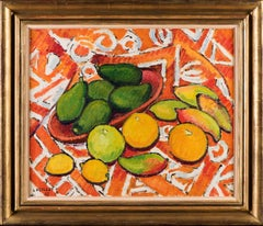 Tahitian Still life with fruit, Oil on canvas, Framed