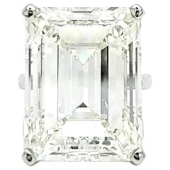 Louis Newman & Co. GIA Certified 30.39 Carat Emerald Cut Diamond Ring