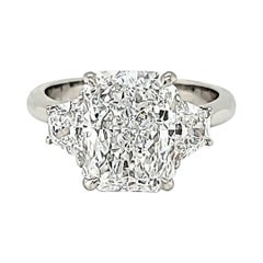 Louis Newman & Co GIA Certified Radiant Cut 3.08 Carat Three Stone Ring