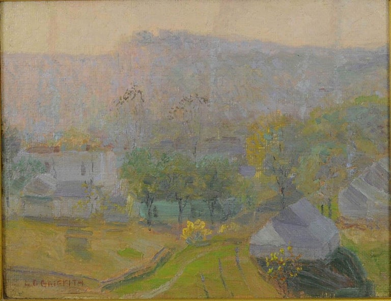 Nashville at Sunrise - Brown Landscape Painting by Louis Oscar Griffith