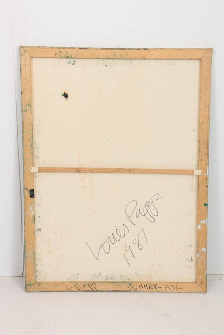 Canvas Louis Papp, Abstract Mixed-Media Artwork, 1987