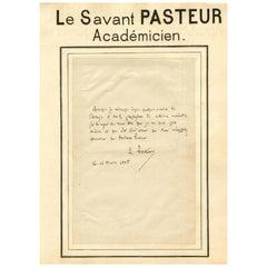 Louis Pasteur Antique 1885 Handwritten and Signed Letter