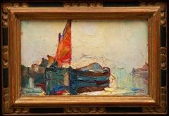 """Marine Painting """"Deux Bateaux"""" (Louis Pastour French, 1876-1948)"""