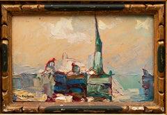 """Marine Painting """"Trois Pêcheurs"""" Louis Pastour (France, 1876-1948)"""
