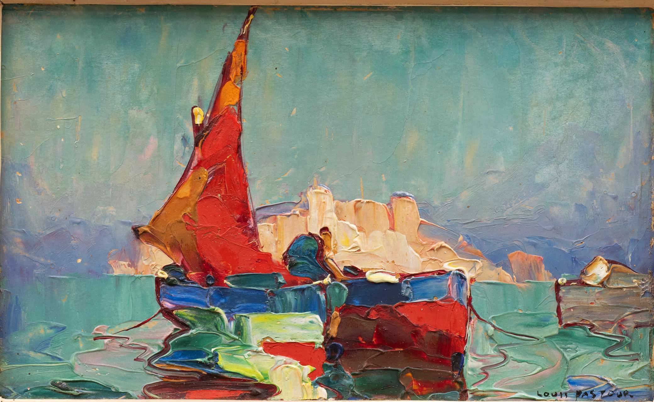 """Marine Painting """"Voile Rouge"""" Louis Pastour (France, 1876-1948)"""
