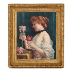 'Le Bouquet des Fleurs', antique oil painting by Perrey