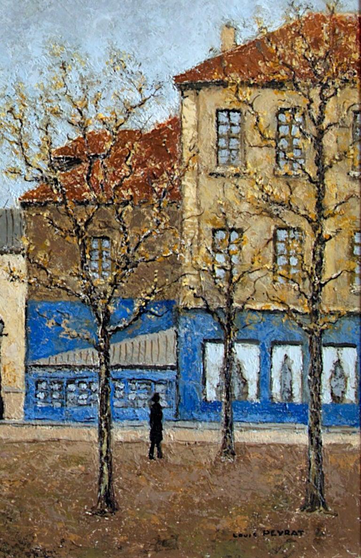 Place du Tertre, Montmartre, Paris - Gray Landscape Painting by Louis Peyrat