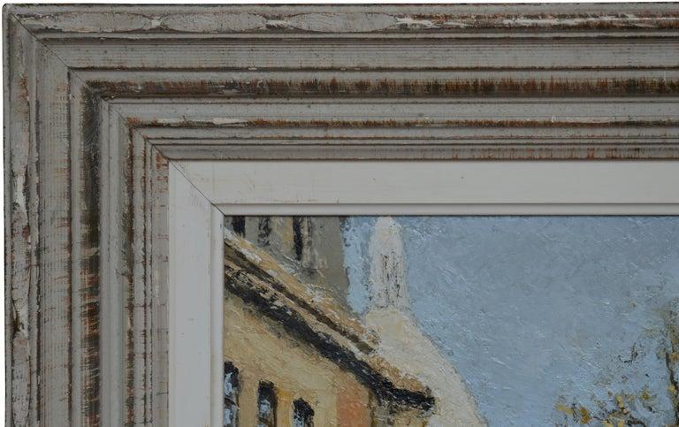 Oil on wood panel by Louis PEYRAT (1911-1999), France, 1950s. Place du Tertre, Montmartre, Paris. With frame: 65,5x76,5x5,5 cm - 25.8x30.1x2.2 inches, without frame: 50x61 cm - 19.7x24 inches. 12F format. Signed