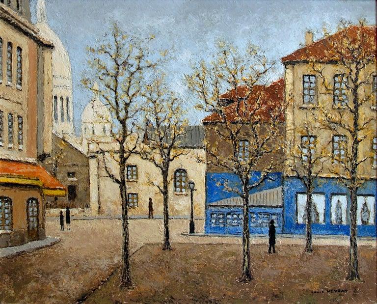 Louis Peyrat Landscape Painting - Place du Tertre, Montmartre, Paris