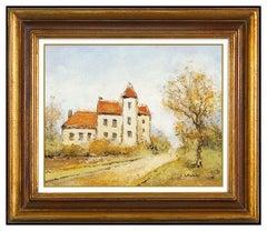 Louis Peyrat Oil Painting On Canvas Signed French Landscape Original Framed Art