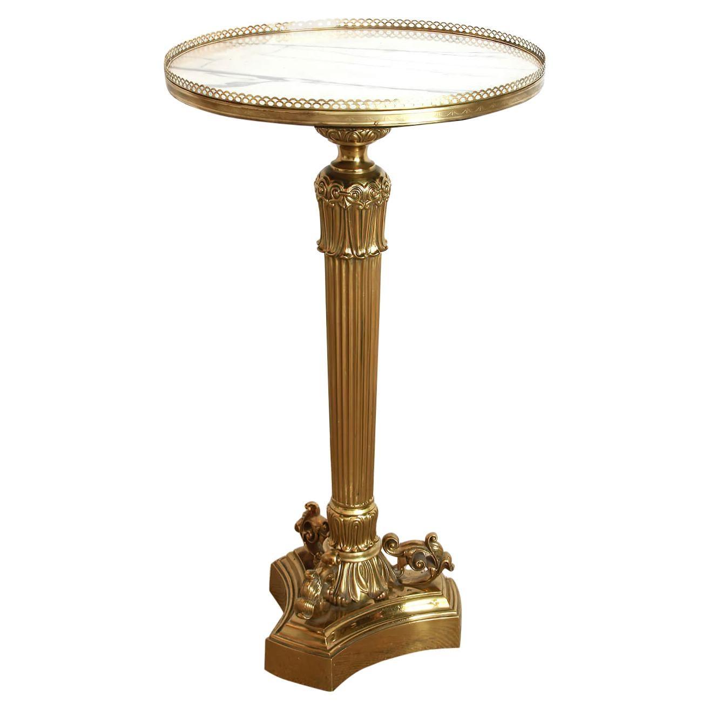 Louis Philipe Bronze Pedestal Side Table