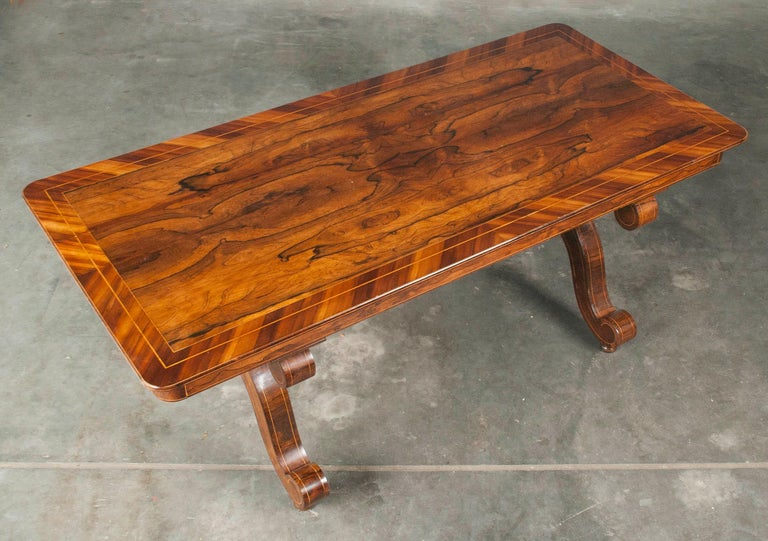 Louis Philipe Mahogany Veneered Centertable or Writing Table, France circa 1850 For Sale 5