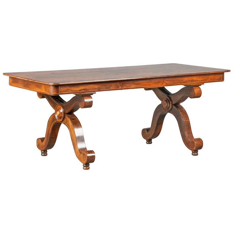 Louis Philipe Mahogany Veneered Centertable or Writing Table, France circa 1850 For Sale