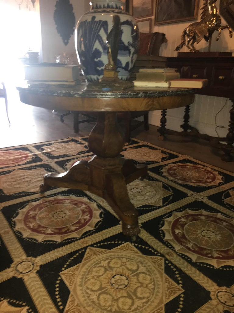 Marble Louis Philippe Burl Wood Centre Table For Sale