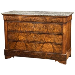 Louis Philippe Burr Walnut Chest or Commode with Marble Top