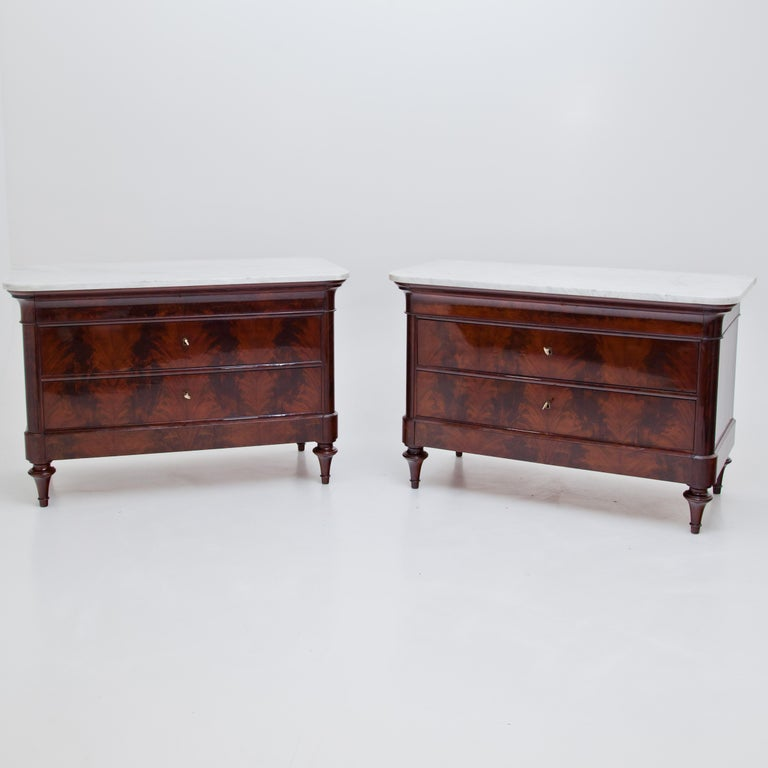 Marble Louis Philippe Chests of Drawers, Italy, 1830s-1840s For Sale