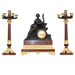 Louis-Philippe Clock and Candelabra Set