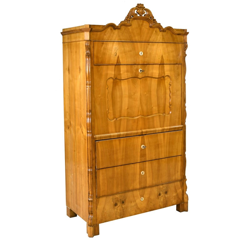 Louis Philippe Fall-Front Secretary in Cherrywood, Germany, circa 1850 For Sale 5
