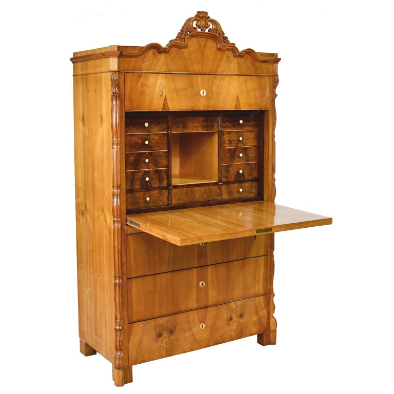 Louis Philippe Fall-Front Secretary in Cherrywood, Germany, circa 1850 For Sale 6