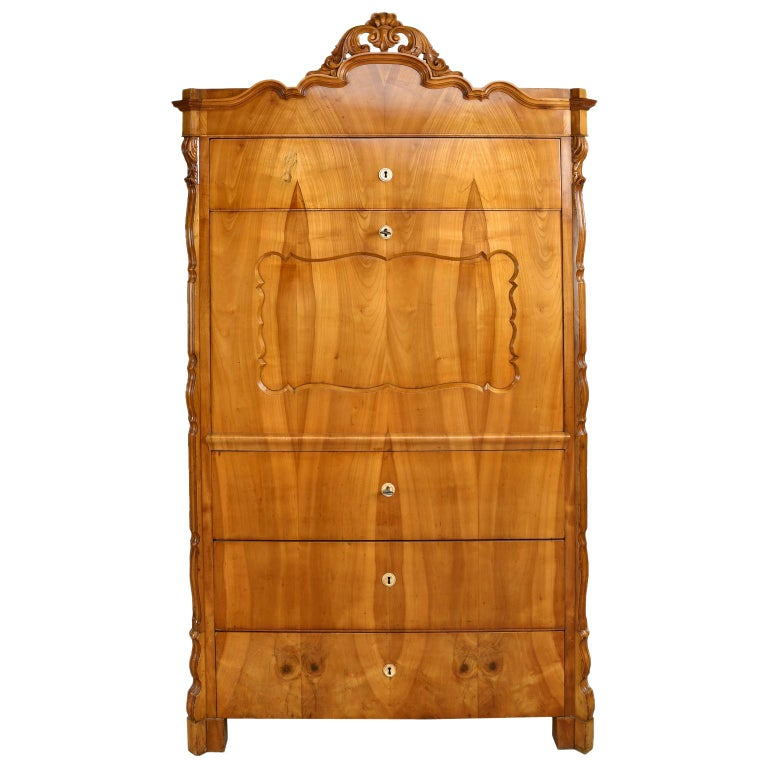 Louis Philippe Fall-Front Secretary in Cherrywood, Germany, circa 1850 For Sale