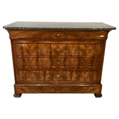 Louis Philippe Figured Walnut Commode with St. Anne Marble Top