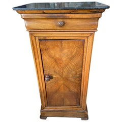 Louis Philippe Marble Book Matched Bedside Cabinet