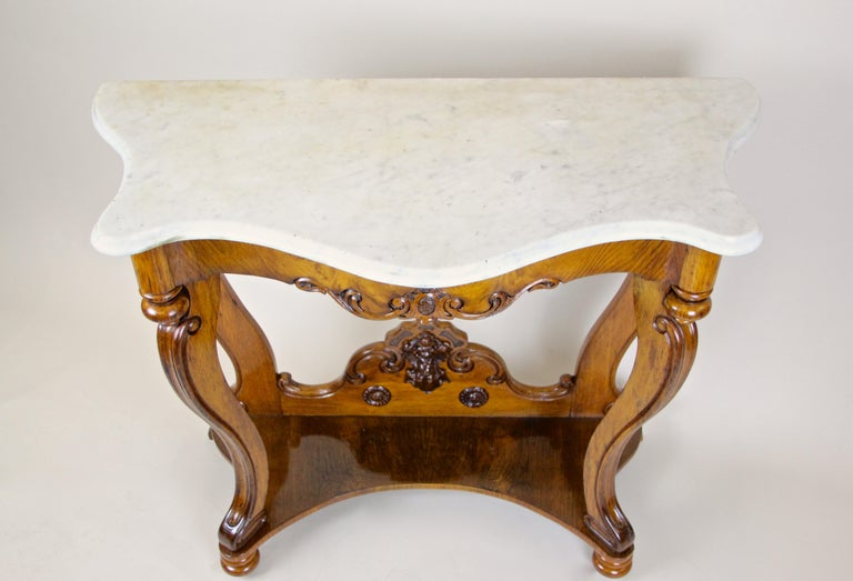 Louis Philippe Oakwood Console with Carrara Marble, France, circa 1850 For Sale 5
