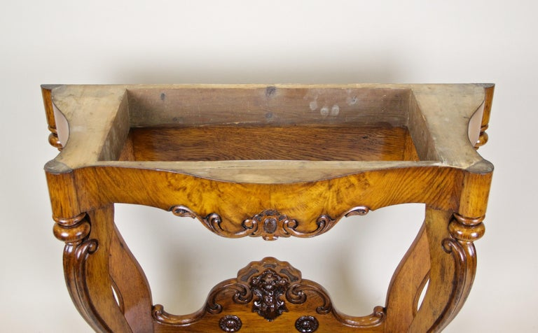 Louis Philippe Oakwood Console with Carrara Marble, France, circa 1850 For Sale 9