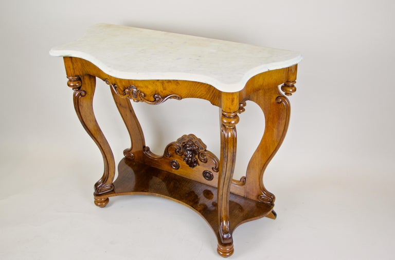 Louis Philippe Oakwood Console with Carrara Marble, France, circa 1850 For Sale 11