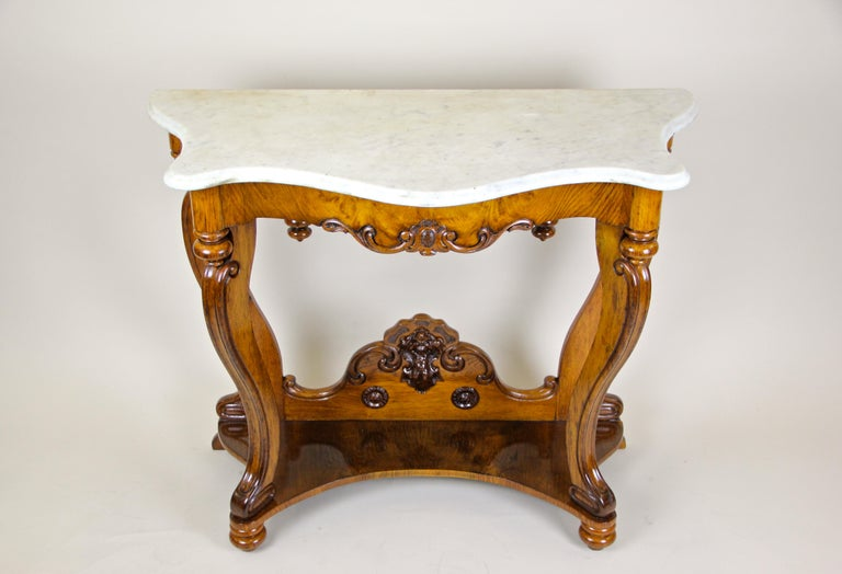 Polished Louis Philippe Oakwood Console with Carrara Marble, France, circa 1850 For Sale