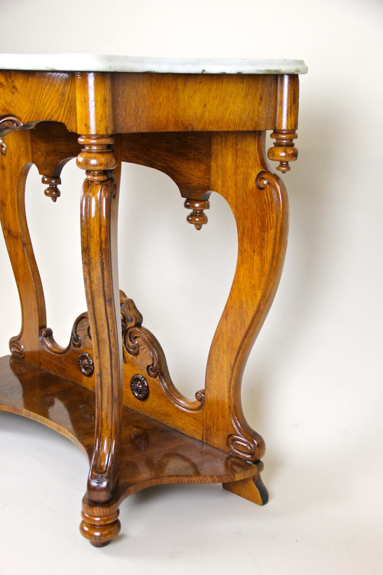 Louis Philippe Oakwood Console with Carrara Marble, France, circa 1850 For Sale 1