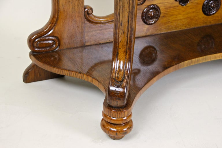 Louis Philippe Oakwood Console with Carrara Marble, France, circa 1850 For Sale 3
