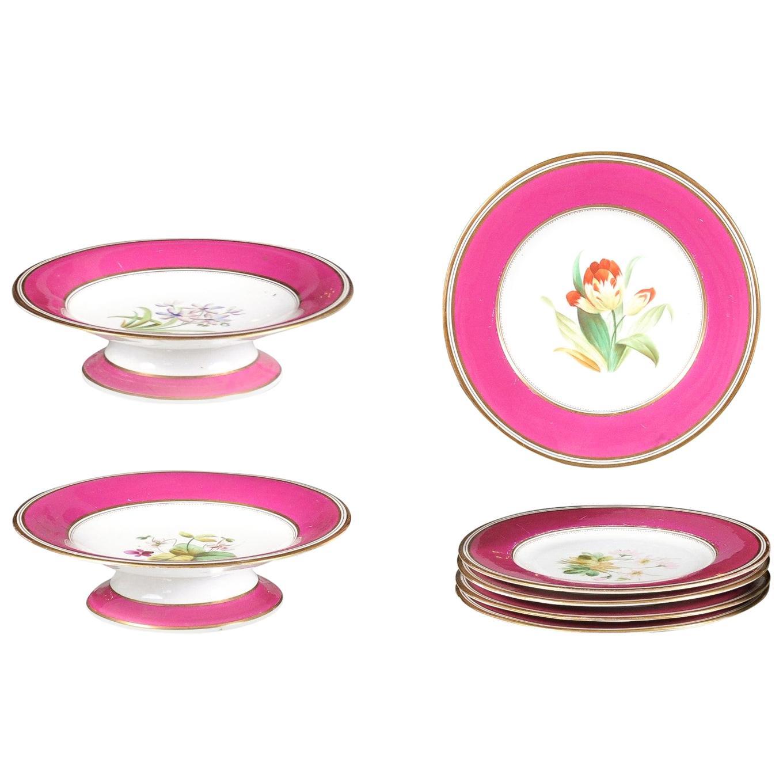 Louis-Philippe Paris Porcelain Fuschia Service Plates and Compotes, Sold Each